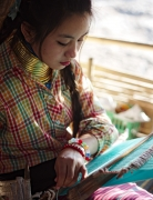 Padaung Girl Weaving, Northern Thailand